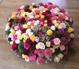 Herbstliches Blumengesteck - Floristik, Blumengesteck, Rosen, Astern, Hortensien