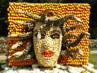 Skulptur aus Kürbissen Medusa - Herbstdekoration, Kürbis, Herbst, Medusa, griechische Mythologie, Gorgone, Perseus