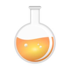 Kolben - Rundkolben, Kolben, Laborkolben, Reaktionsgefäß, Glaskolben, Labor, Chemie, Versuch, Experiment, Flüssigkeit, Orange, Umriss, Umrisszeichnung, Illustration