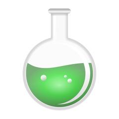 Kolben - Rundkolben, Kolben, Laborkolben, Reaktionsgefäß, Glaskolben, Labor, Chemie, Versuch, Experiment, Flüssigkeit, Grün, Umriss, Umrisszeichnung, Illustration
