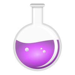 Kolben - Rundkolben, Kolben, Laborkolben, Reaktionsgefäß, Glaskolben, Labor, Chemie, Versuch, Experiment, Flüssigkeit, Lila, Umriss, Umrisszeichnung, Illustration