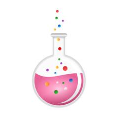 Kolben - Zaubertrank, Gebräu, Elixier, Zauberei, Rundkolben, Kolben, Laborkolben, Reaktionsgefäß, Glaskolben, Labor, Chemie, Versuch, Experiment, Flüssigkeit, Rosa, Umriss, Umrisszeichnung, Illustration