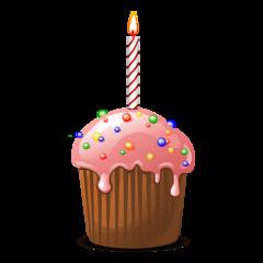 Muffin mit Geburtstagskerze - Muffin, Zuckerguss, rosa, Dessert, Kuchen, Gebäck, backen, Bäcker, Leckerei, süß, Süßigkeit, Küchlein, rund, essen, feiern, gebacken, dekorieren, Zuckerperlen, Geburtstagskerze, Geschenk, Überraschung, Kerze, Wärme, heiß, warm, Licht, Stimmung, Illustration