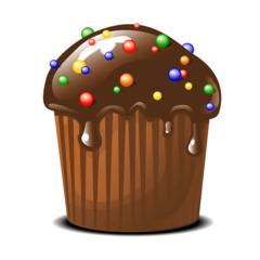 Muffin mit Schokoglasur - Muffin, Schokoglasur, Glasur, Schokolade, Dessert, Kuchen, Gebäck, backen, Bäcker, Leckerei, süß, Süßigkeit, Küchlein, rund, essen, feiern, gebacken, dekorieren, Zuckerperlen, Illustration
