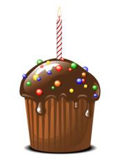 Muffin mit Schokoglasur und Geburtstagskerze - Muffin, Schokoglasur, Schokolade, Dessert, Kuchen, Gebäck, backen, Bäcker, Leckerei, süß, Süßigkeit, Küchlein, rund, essen, feiern, gebacken, dekorieren, Zuckerperlen, Geburtstagskerze, Geschenk, Überraschung, Kerze, Wärme, heiß, warm, Licht, Stimmung, Illustration