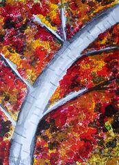 Herbstbaum - Wasserfarben, Borstenpinsel, Farben mischen, Herbstbaum, Baum im Herst, Verfärbung, Mischfarben