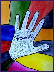 Freundschaftshand - Hand, Farbe, Freundschaft, Kunstunterricht, Soziales Lernen