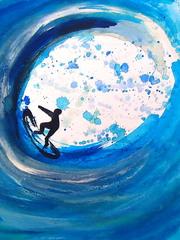 Surfer - Surfer, Welle, Wasserfarben, Technik