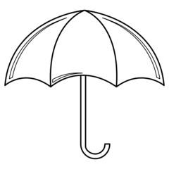 Regenschirm - Regenschirm, Schirm, umbrella, Regen, regnen, Schirm, nass, Anlaut Sch, Anlaut R, Gebrauchsgegenstand, Stiel, Plane, Nylon, Griff, Umriss, Umrisszeichnung, Illustration