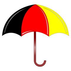 Regenschirm - Regenschirm, Schirm, umbrella, Regen, regnen, Schirm, nass, Anlaut Sch, Anlaut R, Gebrauchsgegenstand, Schutz, Stiel, Plane, Nylon, Griff, bunt, schwarz, rot, gelb, Illustration