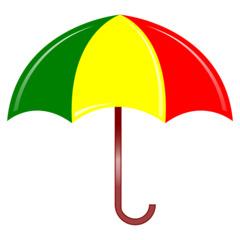 Regenschirm - Regenschirm, Schirm, umbrella, Regen, regnen, Schirm, nass, Anlaut Sch, Anlaut R, Gebrauchsgegenstand, Schutz, Stiel, Plane, Nylon, Griff, bunt, grün, gelb, rot, Illustration