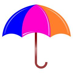 Regenschirm - Regenschirm, Schirm, umbrella, Regen, regnen, Schirm, nass, Anlaut Sch, Anlaut R, Gebrauchsgegenstand, Schutz, Stiel, Plane, Nylon, Griff, bunt, blau, rosa, orange, Illustration