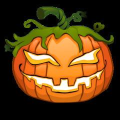 Halloween Kürbis - Kürbis, Kürbisgewächs, Speisekürbis, Halloween, Brauch, Herbst, Jahreszeit, Laterne, gelb, orange, Jack O'Lantern, pumpkin, Gesicht, geschnitzt, schnitzen, Fratze, böse, gruselig, gruseln, unheimlich, Anlaut K, Wörter mit ü, Illustration, Clipart