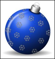 Christbaumkugel 3e - Christbaumkugel, Christbaumschmuck, Weihnachtsschmuck, Weihnachtskugel, Kugel, Weihnachtsdekoration, Dekoration, Deko, Brauchtum, Tradition, weihnachtlich, Stimmung, besinnlich, blau, Ornament, Schneeflocke, Schneeflocken, Illustration