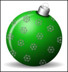 Christbaumkugel 3c - Christbaumkugel, Christbaumschmuck, Weihnachtsschmuck, Weihnachtskugel, Kugel, Weihnachtsdekoration, Dekoration, Deko, Brauchtum, Tradition, weihnachtlich, Stimmung, besinnlich, grün, Ornament, Schneeflocke, Schneeflocken, Illustration