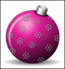 Christbaumkugel 3b - Christbaumkugel, Christbaumschmuck, Weihnachtsschmuck, Weihnachtskugel, Kugel, Weihnachtsdekoration, Dekoration, Deko, Brauchtum, Tradition, weihnachtlich, Stimmung, besinnlich, violett, lila, Ornament, Schneeflocke, Schneeflocken, Illustration