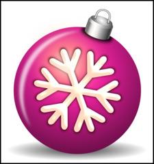Christbaumkugel 2b - Christbaumkugel, Christbaumschmuck, Weihnachtsschmuck, Weihnachtskugel, Kugel, Weihnachtsdekoration, Dekoration, Deko, Brauchtum, Tradition, weihnachtlich, Stimmung, besinnlich, violett, lila, Ornament, Schneeflocke, Illustration