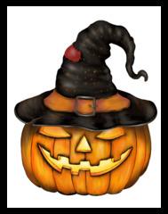 Halloween Kürbis mit Hexenhut - Kürbis, Kürbisgewächs, Speisekürbis, Halloween, Brauch, Herbst, Jahreszeit, Laterne, gelb, orange, Jack O'Lantern, pumpkin, Gesicht, geschnitzt, schnitzen, Fratze, böse, gruselig, gruseln, unheimlich, Hut, Hexe, Hexenhut, Fantasie, Schreibanlass, Anlaut K, Wörter mit ü, Illustration, Clipart