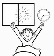 Morgens aufwachen - aufwachen, aufstehen, Uhrzeit, gähnen, strecken, dehnen, sitzen, Bett, Zeichnung, Morgen, früh