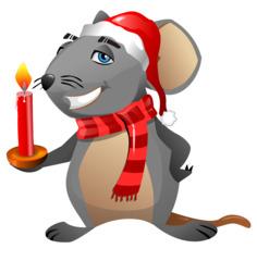 Weihnachtsmaus - Maus, grau, Nagetier, Anlaut M, müde, Schlafmütze, Nikolausmütze, Weihnachtsmütze, Weihnachten, Schal, Kerze, Schreibanlass, Comic, Cartoon, Illustration
