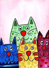 Bunte Katzen - Katzen, Grafik, Gestaltung, Farbenlehre, Grundfarbe, Mischfarbe