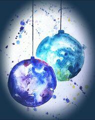 Aquarell Weihnachtskugeln - Aquarell, Weihnachten, Weihnachtskugel, Farbe, Farbenlehre