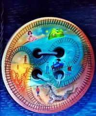 Bühnenbild zur Kinderoper - Jim Knopf  - Jugendbuch, Buch, Literatur, Kinderbuch, Jim Knopf, Lokomotive, Lokomotivführer, Lucas, Vorhang, Bühnenvorhang, Kinderoper, Oper, Film, Puppenkiste