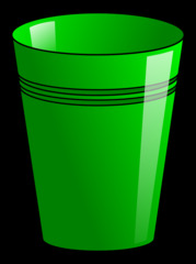 Becher 2 - Becher, Pappbecher, Trinkbecher, Trinkgefäß, trinken, Mehrwegbecher, Plastikbecher, Kunststoffbecher, Einwegbecher, Hartpapierbecher, Geschirr, Anlaut B, Illustration, grün