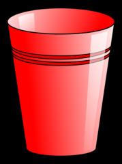 Becher 3 - Becher, Pappbecher, Trinkbecher, Trinkgefäß, trinken, Mehrwegbecher, Plastikbecher, Kunststoffbecher, Einwegbecher, Hartpapierbecher, Geschirr, Anlaut B, Illustration, rot