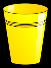 Becher 4 - Becher, Pappbecher, Trinkbecher, Trinkgefäß, trinken, Mehrwegbecher, Plastikbecher, Kunststoffbecher, Einwegbecher, Hartpapierbecher, Geschirr, Anlaut B, Illustration, gelb