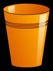 Becher 5 - Becher, Pappbecher, Trinkbecher, Trinkgefäß, trinken, Mehrwegbecher, Plastikbecher, Kunststoffbecher, Einwegbecher, Hartpapierbecher, Geschirr, Anlaut B, Illustration, orange