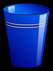 Becher 6 - Becher, Pappbecher, Trinkbecher, Trinkgefäß, trinken, Mehrwegbecher, Plastikbecher, Kunststoffbecher, Einwegbecher, Hartpapierbecher, Geschirr, Anlaut B, Illustration, dunkelblau