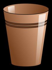 Becher 7 - Becher, Pappbecher, Trinkbecher, Trinkgefäß, trinken, Mehrwegbecher, Plastikbecher, Kunststoffbecher, Einwegbecher, Hartpapierbecher, Geschirr, Anlaut B, Illustration, braun