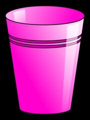 Becher 9 - Becher, Pappbecher, Trinkbecher, Trinkgefäß, trinken, Mehrwegbecher, Plastikbecher, Kunststoffbecher, Einwegbecher, Hartpapierbecher, Geschirr, Anlaut B, Illustration, pink