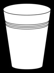 Becher 10 - Becher, Pappbecher, Trinkbecher, Trinkgefäß, trinken, Mehrwegbecher, Plastikbecher, Kunststoffbecher, Einwegbecher, Hartpapierbecher, Geschirr, Anlaut B, Illustration, Umriss, Umrisszeichnung, weiß