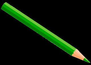 Buntstift 7 - Buntstift, Farbstift, Holzstift, Stift, Schreibgerät, Malutensil, Utensil, Kunst, schreiben, malen, zeichnen, aufschreiben, notieren, Notiz, Illustration, dunkelgrün