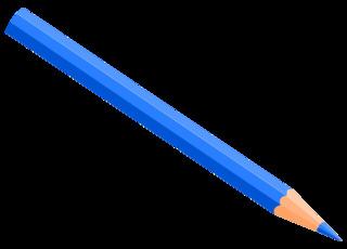 Buntstift 8 - Buntstift, Farbstift, Holzstift, Stift, Schreibgerät, Malutensil, Utensil, Kunst, schreiben, malen, zeichnen, aufschreiben, notieren, Notiz, Illustration, hellblau