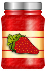 Erdbeermarmelade - Marmelade, Konfitüre, Erdbeeren, Erdbeere, Erdbeermarmelade, Erdbeerkonfitüre, Glas, Lebensmittel, Brotaufstrich, süß, fruchtig, einkochen, Illustration