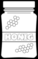 Honigglas - Honig, Glas, Honigglas, Aufstrich, Lebensmittel, Nahrungsmittel, Hausmittel, Heilmittel, Naturprodukt, Imkerei, Imker, süß, süßen, Süßmittel, Illustration, Umriss, Umrisszeichnung