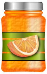 Orangenmarmelade - Marmelade, Konfitüre, Orange, Orangen, Orangenmarmelade, Orangenkonfitüre, Glas, Lebensmittel, Brotaufstrich, süß, fruchtig, einkochen, Illustration