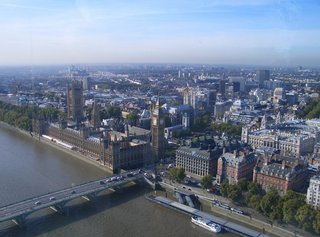 Blick aus dem London Eye  - London Eye, London, England, Houses of Parliament, Big Ben, Westminster Abbey, Old Scotland Yard, Treasury