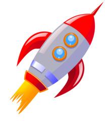 Rakete - Rakete, Raumfähre, Rückstoß, Schub, Schubkraft, Antrieb, Beschleunigung, Düsentriebwerk, Raumfahrt, Weltraum, fliegen, Anlaut R, Cartoon, Illustration