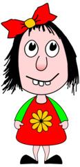 Mädchen - Kind, Mädchen, Schülerin, Schulkind, Kindergartenkind, Kindchenschema, Comicfigur, Illustration, Haare, Augen, Gesicht, Schleife, Nase, Zähne, Mund