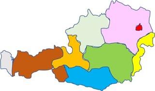 Österreich Karte - Österreich Karte, Computerzeichnung, Landkarte, färbige Bundesländer