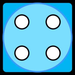 Würfel - Würfel, Würfelgesicht, Würfelseite, Würfelbild, Spielwürfel, Augen, Augenzahl, Punkte, Zufall, Glück, rechnen, würfeln, spielen, Illustration, Clipart, Vier, blau