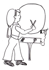 Frisörin - Friseur, Friseurin, Friseuse, Frisör, Frisörin, frisieren, schneiden, Fön, Spiegel
