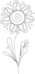 Blume - Doodle - Blume, Pflanze, Doodle, Blätter, Blüte, Verzierung, Dekoration, Blumengruß, Anlaut B, Clipart, Illustration