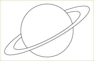 Planet mit Ring - Planet, Ring, Himmelskörper, Himmel, Weltall, Weltraum, Universum, Astronomie, Kugel, Umriss, Umrissbild