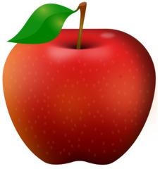 roter Apfel mit Blatt - Apfel, Obst, Frucht, Kernobstgewächs, Rosengewächs, rot, Anlaut A, Wörter mit pf, Illustration