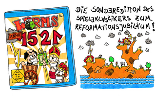 Worms 1521 - Martin Luther, Causa Lutheri, Worms, Reichstag, Edikt, Reichsbann, Karl V., Bannbulle, Exkommunikation, PC, Spiel, Konfirmation, Spieleserie, Amiga, Playstation, Computerspiel, Multiplayer, Artillery, Informatik, Programm, programmieren